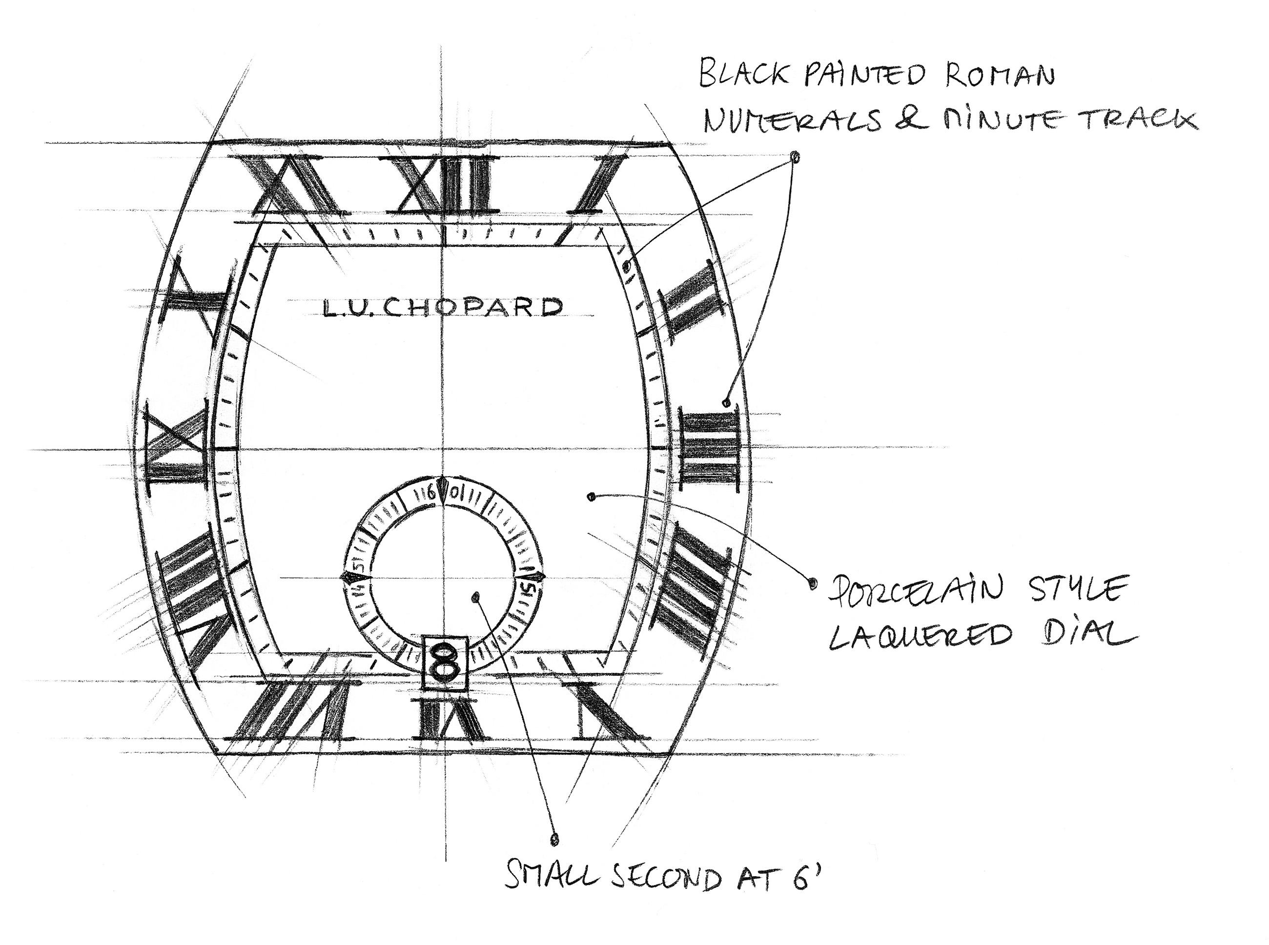 L.U.C Tonneau Heritage - Sketch 2 - Porcelain style dial copy